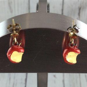 Vintage Bitten Red Apple Earrings